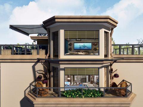 阳台窗帘新中式风格装潢设计图片