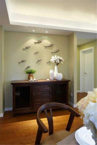玄关背景墙新中式风格装潢设计图片
