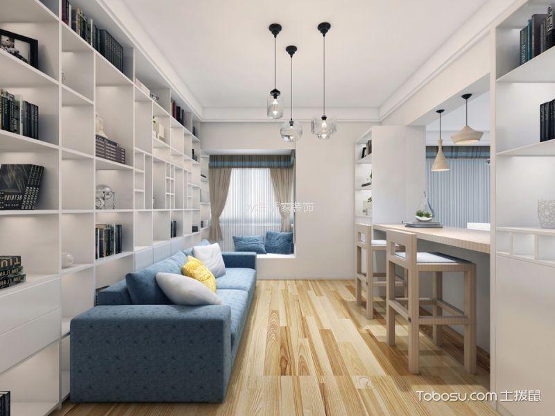 书房蓝色沙发现代简约风格装饰设计图片