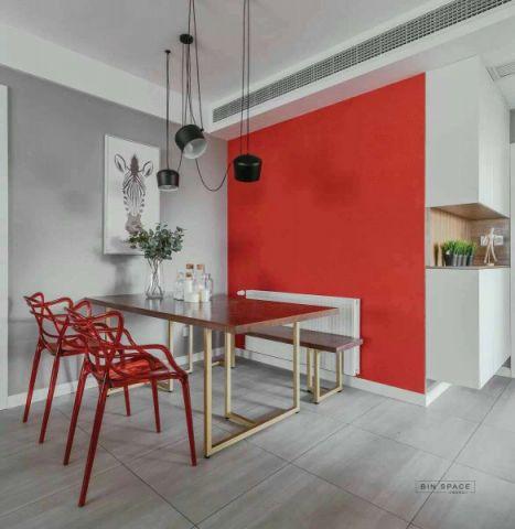 餐厅灰色地板砖简单风格装潢图片