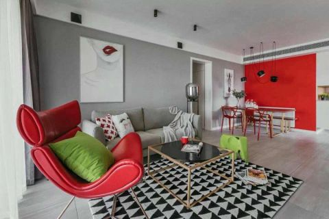 客厅灰色沙发简单风格装修设计图片