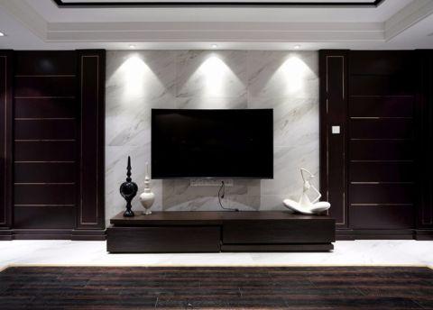 客厅咖啡色电视柜装修