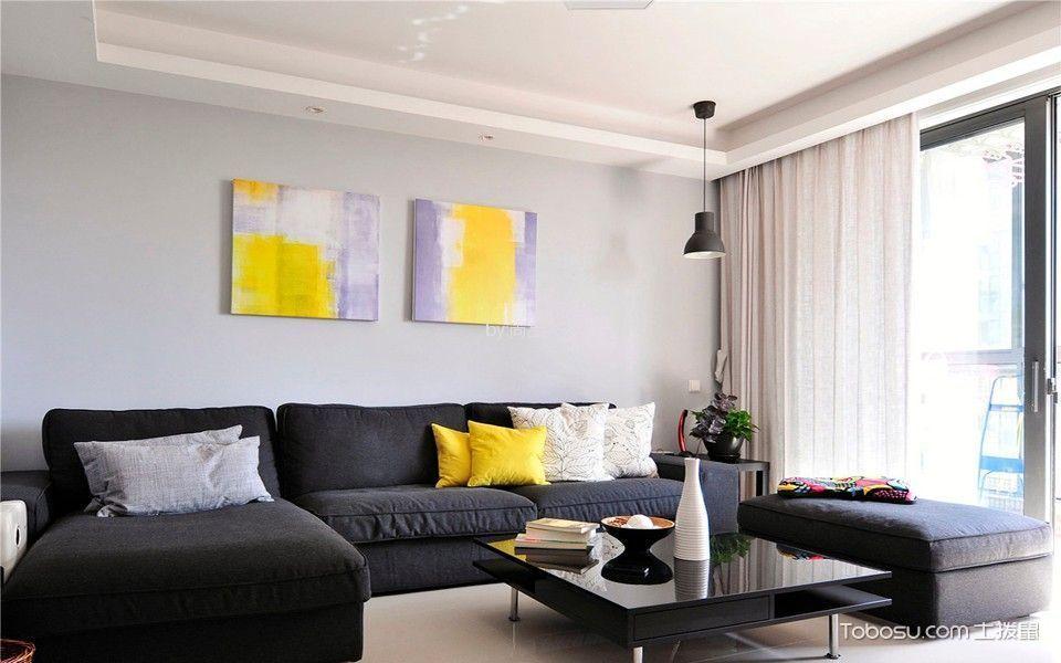 质感黑色沙发装饰实景图
