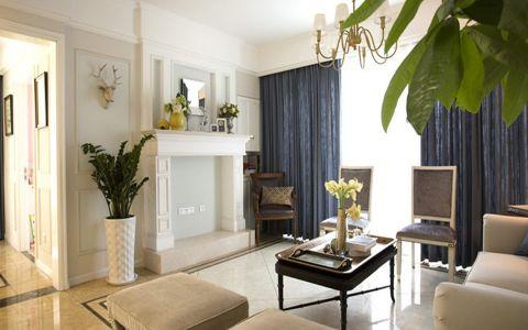 客厅蓝色窗帘美式风格装饰图片
