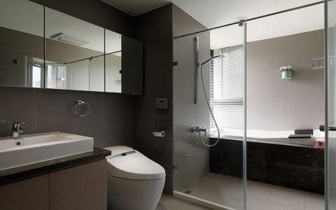 卫生间咖啡色洗漱台美式风格装饰效果图