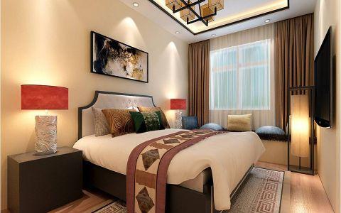 卧室咖啡色窗帘新中式风格装潢设计图片