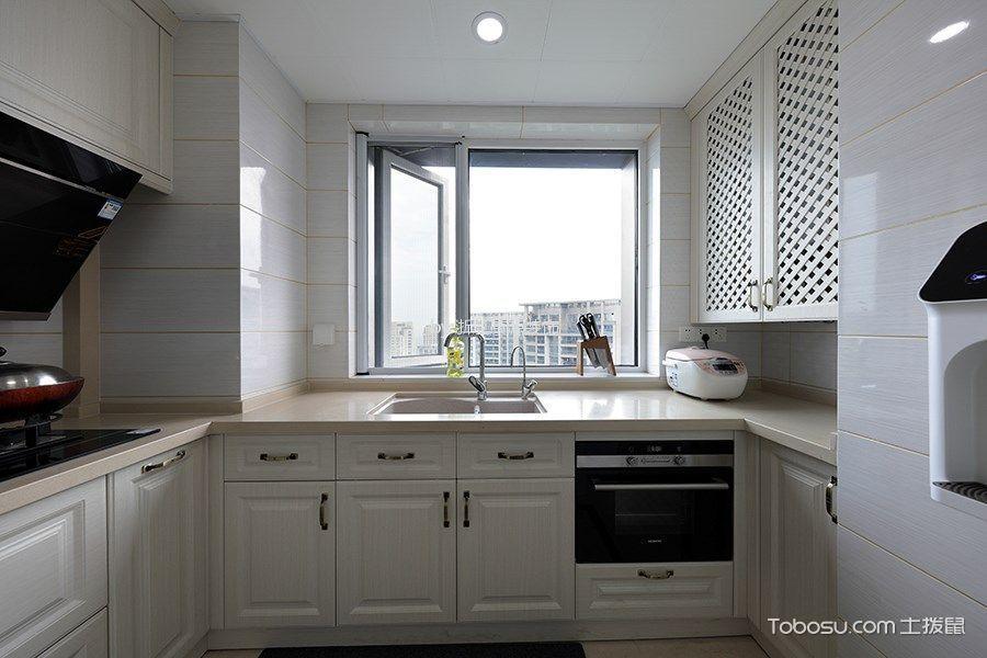 厨房白色橱柜混搭风格装潢图片