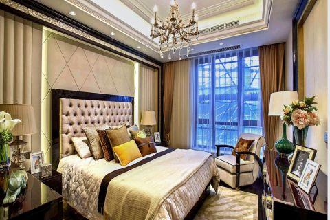 卧室咖啡色窗帘新中式风格效果图