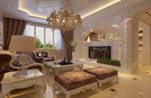 客厅白色欧式风格装潢效果图