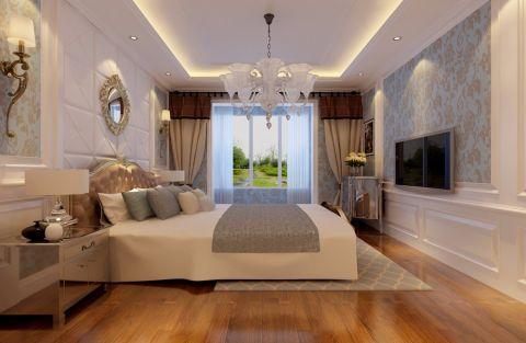 卧室橙色床欧式风格装修设计图片