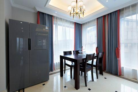 餐厅蓝色窗帘混搭风格装潢效果图