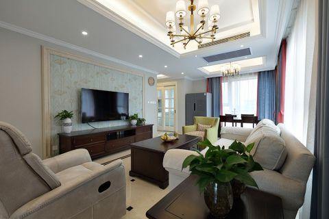 客厅咖啡色电视柜混搭风格装修图片