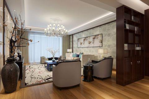 客厅博古架日式风格装潢设计图片
