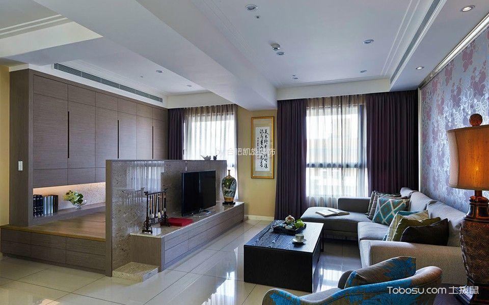 客厅咖啡色电视柜混搭风格装饰图片