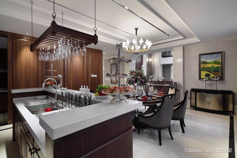 厨房咖啡色厨房岛台美式风格装饰图片