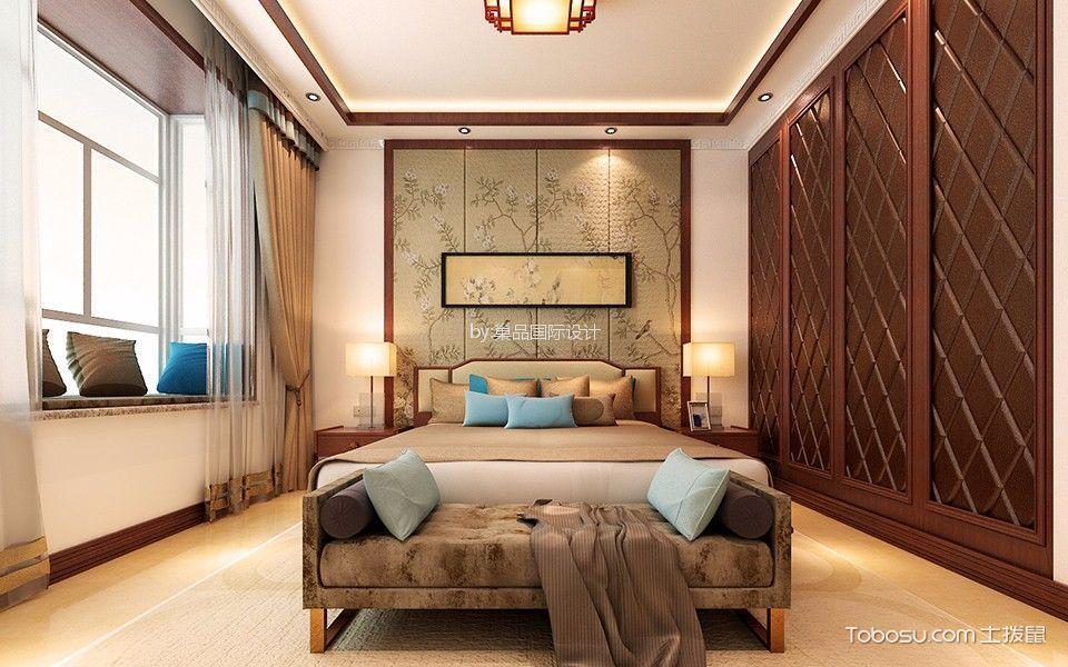卧室咖啡色窗帘现代中式风格装饰效果图