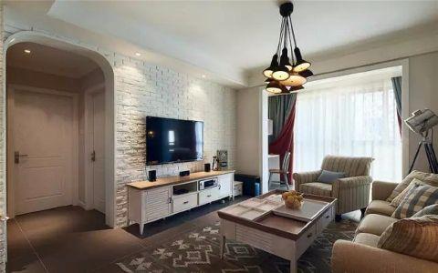淮合花园92平三居室美式风格装修效果图