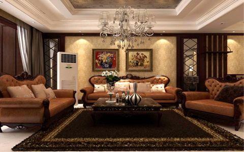 绿地卢浮公馆146平美式风格三居室装修效果图