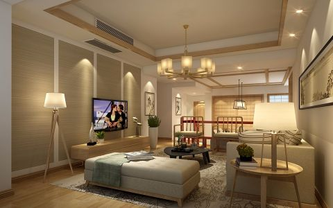 客厅吊顶日式风格装修图片