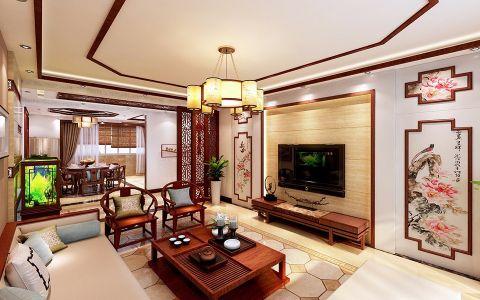 客厅茶几现代中式风格装饰设计图片