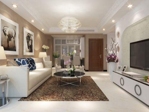 客厅白色照片墙现代简约风格装潢图片