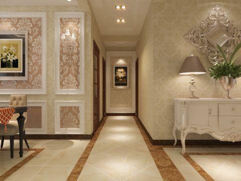 玄关黄色走廊简欧风格装修设计图片