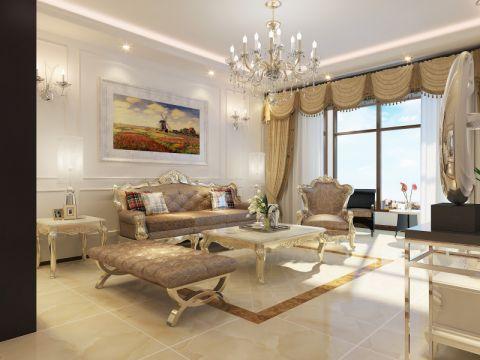 客厅白色吊顶简欧风格装潢设计图片
