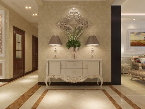 玄关米色背景墙简欧风格效果图