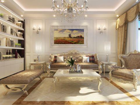 客厅白色背景墙简欧风格装饰效果图