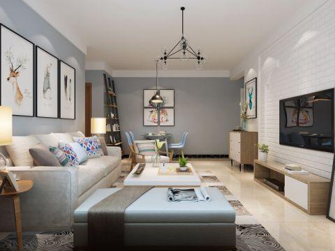 现代简约风格76平米二居室装修效果图