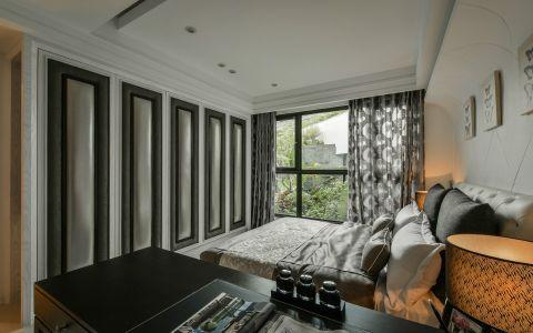 卧室灰色窗帘新古典风格装修设计图片