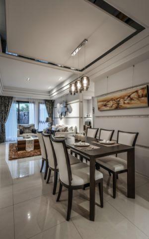 餐厅米色吊顶新古典风格装潢图片