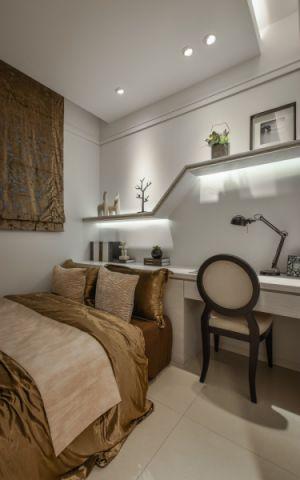 卧室咖啡色窗帘新古典风格装潢设计图片