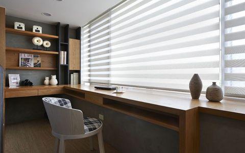 书房咖啡色书桌现代风格装修设计图片