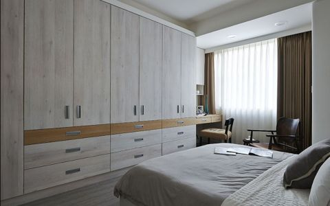 卧室咖啡色窗帘现代风格装修效果图