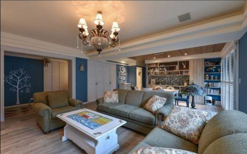 客厅白色茶几田园风格装潢效果图