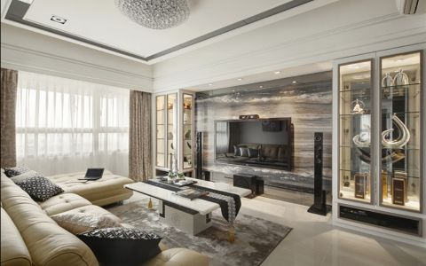 客厅白色茶几新古典风格装修图片