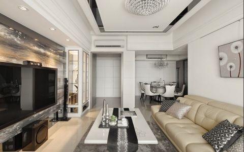 客厅白色茶几新古典风格装潢图片