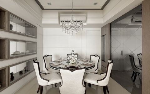 餐厅黑色餐桌新古典风格装修设计图片