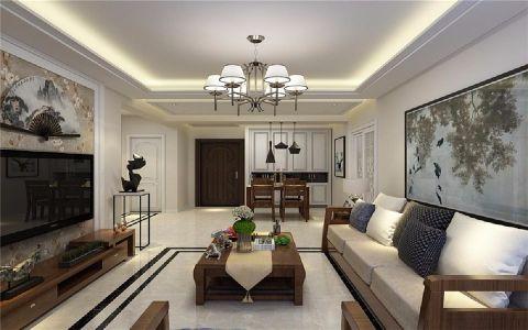 金色梧桐新中式90平米三居室装修效果图