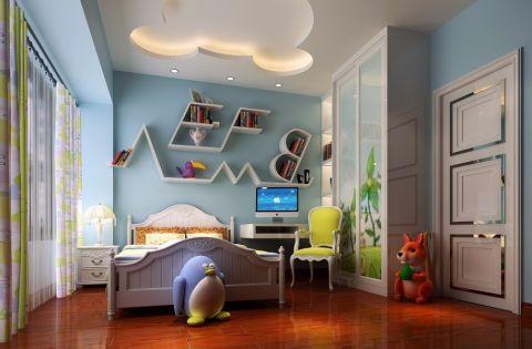 儿童房背景墙简欧风格装饰图片