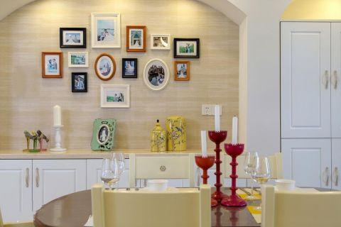 餐厅黄色照片墙美式风格装潢效果图