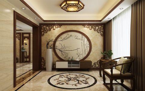 客厅咖啡色窗帘新中式风格装饰图片