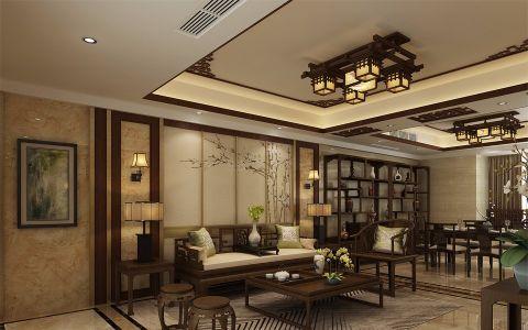 客厅背景墙新中式风格装潢图片