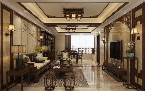 客厅咖啡色电视柜新中式风格装饰设计图片