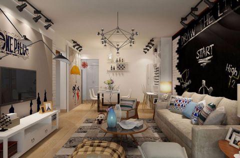 客厅灰色沙发现代简约风格装修图片