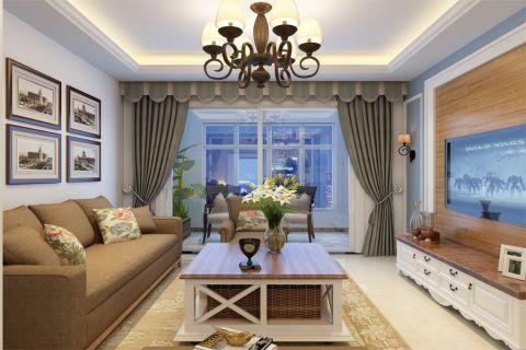 美式风格123平米三室两厅新房装修效果图