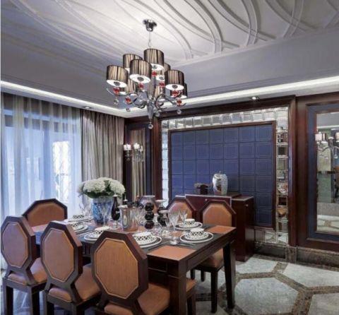 餐厅咖啡色餐桌欧式风格效果图