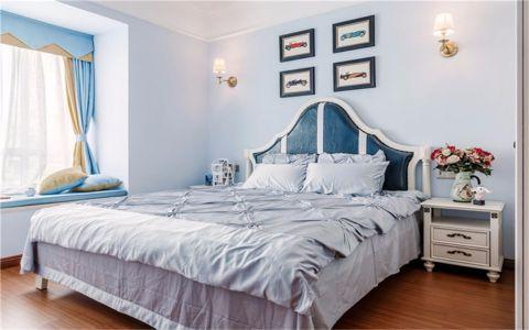 简单大气蓝色卧室构造图