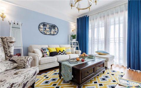 客厅蓝色窗帘美式风格装潢设计图片